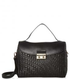 Black Lock Quilted Small Satchel