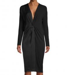 BCBGMaxazria Black Twist-Front Knit Dress