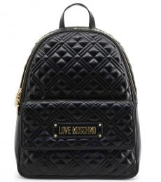 Black Quilted Large Backpack