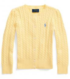 Little Girls Butter Cream Cable-Knit Cardigan
