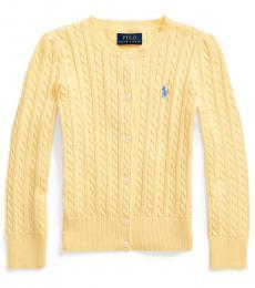 Ralph Lauren Little Girls Butter Cream Cable-Knit Cardigan