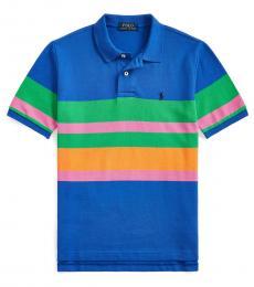 Boys Travel Blue Striped Polo