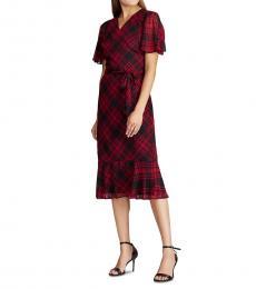 Red Plaid Plaid Georgette Dress