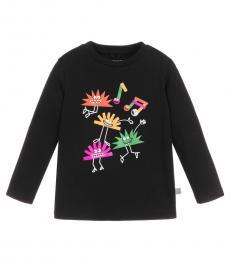 Stella McCartney Little Girls Black Graphic T-Shirt
