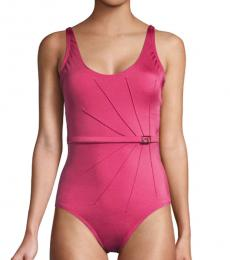 Pink Pleated One-Piece Swimsuit