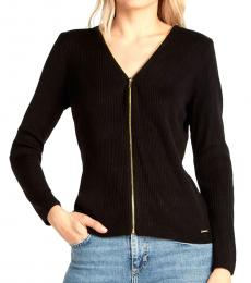 Calvin Klein Black Ribbed Zip Sweater