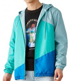 True Religion Aqua Color Block Windbreaker