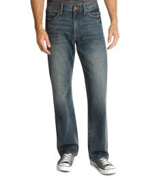 Dark Blue Relaxed Straight Fit Jeans