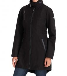 Michael Kors Black Faux-Leather-Trim Hooded Raincoat
