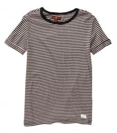 7 For All Mankind Girls Black Slouchy Boat-Neck T-Shirt