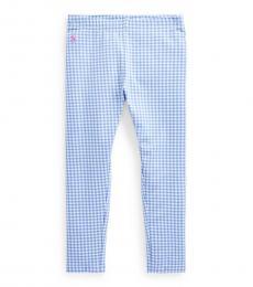 Ralph Lauren Little Girls Blue Gingham Stretch Leggings