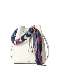 Ralph Lauren White Debby Medium Bucket Bag