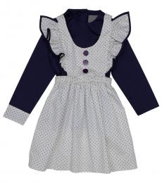 Self Stitch Little Girls Frill Polka Dress Set