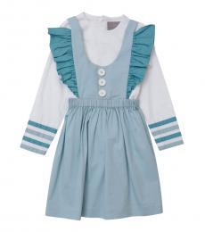 Self Stitch Little Girls Stripe Detail Dress Set
