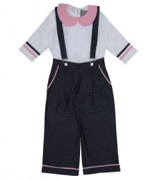 Self Stitch Baby Girls Denim Dungaree Co-ord Set