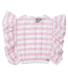 Self Stitch Baby Girls Pink Stripe Ruffle Top