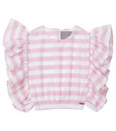 Self Stitch Girls Pink Stripe Ruffle Top