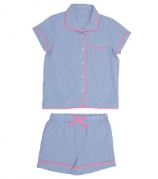Self Stitch Girls Notched Collar Stripe Night Set