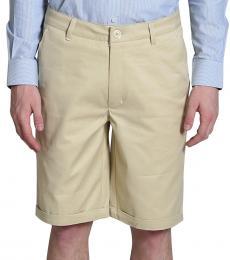 Self Stitch Beige Cotton Shorts