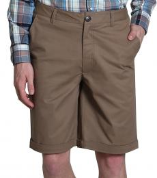 Self Stitch Brown Cotton Twill Shorts