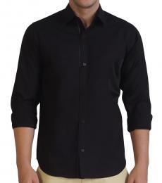 Self Stitch Texture Play Black Shirt