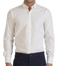 Self Stitch Contrast Detailed White Shirt
