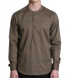 Self Stitch Olive Half Placket Shirt