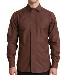Self Stitch Placket Detail Brown Shirt
