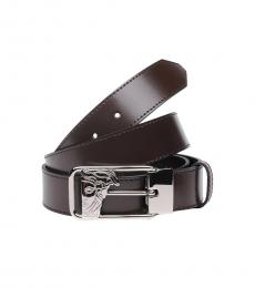 Versace Collection Brown Logo Classic Belt