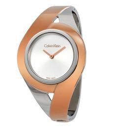 Calvin Klein Silver-Rose Gold Sensual Watch