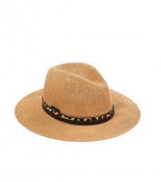 Vince Camuto Tan Band Panama Leopard Hat