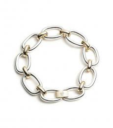 Ralph Lauren Silver Two Tone Oval Link Bracelet
