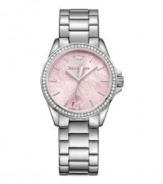 Juicy Couture Silver Pink Laguna Crystal Watch