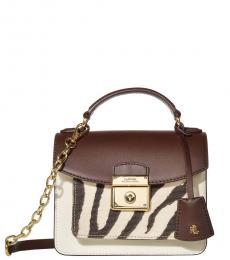Ralph Lauren Chestnut/Natural/Zebra Beckett 19 Mini Satchel