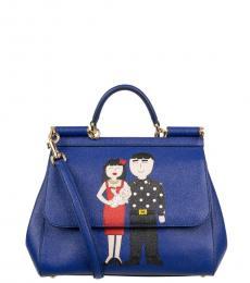 Dolce & Gabbana Dark Blue Sicily Family Motive Small Satchel