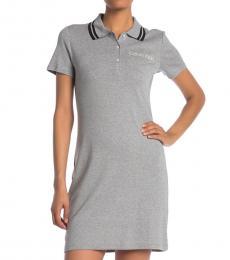 Calvin Klein Grey Logo Polo Shirt Dress