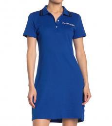 Calvin Klein Royal Blue Logo Polo Shirt Dress