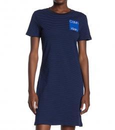 Calvin Klein Royal Blue Logo T-Shirt Dress