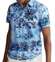 Ralph Lauren Blue Classic Fit Hawaiian Shirt
