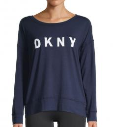 DKNY Navy Reflective Logo Long-Sleeve T-Shirt