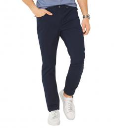 Michael Kors Navy Blue Solid Casual Pants