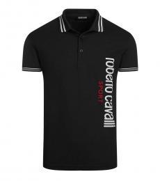 Roberto Cavalli Black Regular Fit Logo Polo