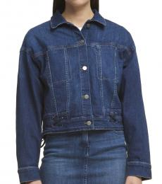 DKNY Denim Laced-Up Button-Front Jacket