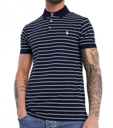 Ralph Lauren Navy Blue Interlock Striped Pony Polo
