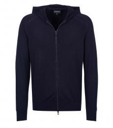 Dark Blue Logo Hoodie Jacket