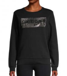 Roberto Cavalli Black Embellished Logo Sweatshirt