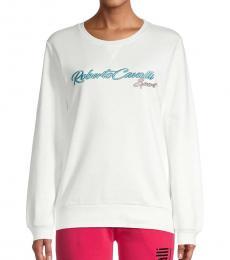 Roberto Cavalli White Logo Cotton Sweatshirt