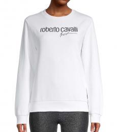 Roberto Cavalli White Logo Sweatshirt