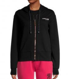 Roberto Cavalli Black Fleece Zip-Front Hoodie