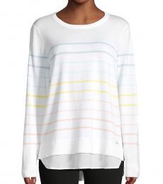 Calvin Klein White Multi-Striped Layered Sweater